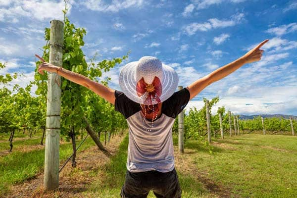 happy woman in hat in vineyard